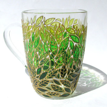 Green Leaves Ombre Mug, Hand Painted Mug, Painted Coffee Mug, Custom Painted Coffee Mug, Leaves Design  Mug