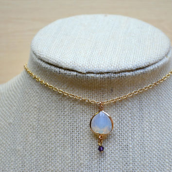 Gold Choker / Gold Necklace / Opaque Necklace / Choker / Drop-down Choker / Choker Necklace