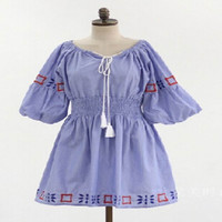 Striped Dress Mori Girl 2016 spring summer ethnic embroidery waisted fringed blue striped causal long sleeve dress real photo