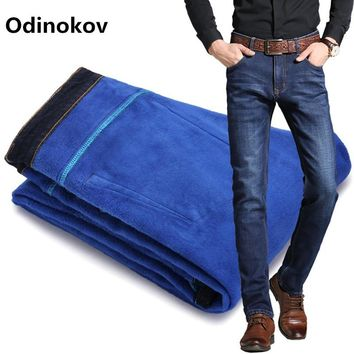 Odinokov Mens Winter Blue Fleece Jeans Lined Stretch Denim Warm  Jeans For Men Designer Slim Fit Brand  Pants Jeans Black Blue