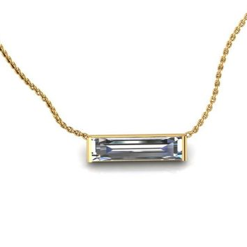 14K Yellow Gold Horizontal Crystal Baguette Necklace