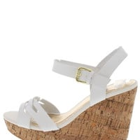 White Strappy Peep Toe Wedges