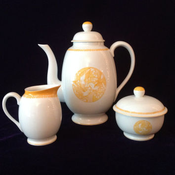 Vintage Lalique Limoges Merles et Raisins 3 piece set: tea pot, sugar, creamer - Sunny Birthday/Wedding/Engagement/Shower/Housewarming Gift