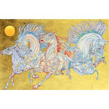 Lever De Soleil - Limited Edition Serigraph on Artist Paper Hand Embellished with Hand Laid Gold Leaf by Guillaume Azoulay