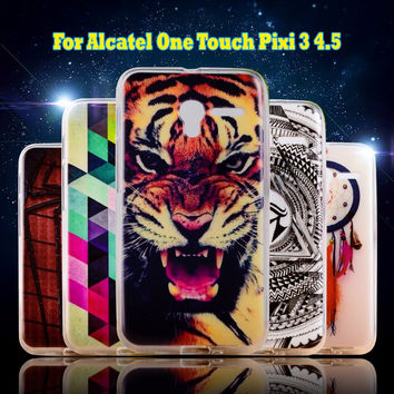 TPU Soft Silicon Cases For Alcatel OneTouch Pixi 3 4G Version 4.5 inch 5019 Covers 5017D 5019D Shells Hoods Skin bags Housings