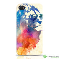 "iPhone 4 and iPhone 4s case / cover / shell- ""Sunny Leo""  Wrap around Tough Case. Lion multicolour"