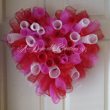 Candy Hearts Inspired..Spiral Deco Mesh Wreath