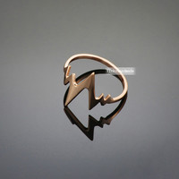 Heart Beat Ring in rose gold,heart beat ring, love ring,sideways heart beat rose gold ring,silver heart beat ring