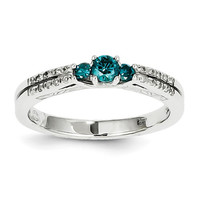 14k White Gold White & Blue Diamond Ring