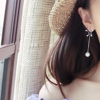Korean Strong Character Geometric Pearls Tassels 925 Silver Earrings [10399363796]