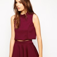 Lavish Alice High Neck Cropped Top - Berry