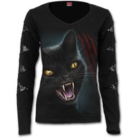 Womens FELINE FURY Lace Patch Cutout V-Neck Top Shop Online From Spiral Direct, Gothic Clothing, UK