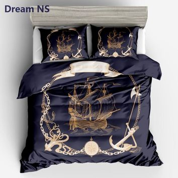 Cool AHSNME Sailboat Printed Duvet Cover Anchor Compass Bedding Set Soft Breathable Fiber Bedclothes 3pcs King Queen SizeAT_93_12