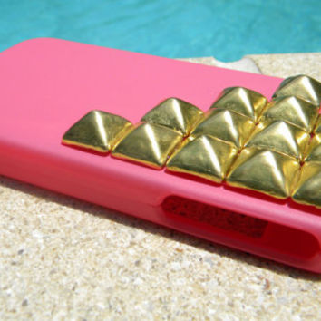 Gold Studded iPhone 4G Case - Pink