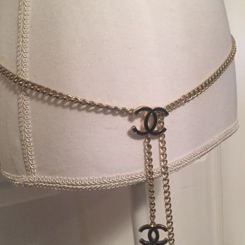 "Authentic Chanel Gold Tone & Black Metal Chain Belt Or Necklace 43"" Length"