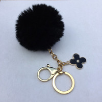 Pom-Perfect Frosted Black REX Rabbit fur pom pom ball with black flower keychain