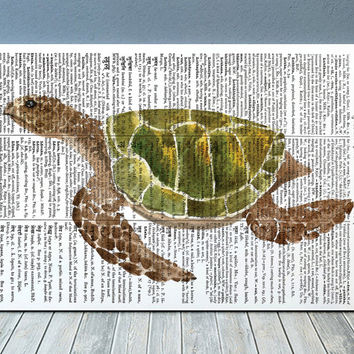 Turtle poster Nautical art Watercolor print Marine print RTA2041