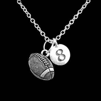 Choose Number, Football Sports Gift Mom Charm Necklace