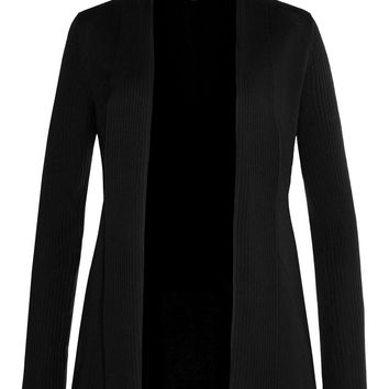 LE3NO Womens Lightweight Open Cardigan with Cinched Back (CLEARANCE)