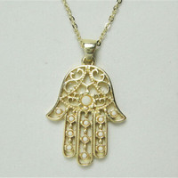 White and Gold Hamsa Hand Necklace Fatima Evil Eye