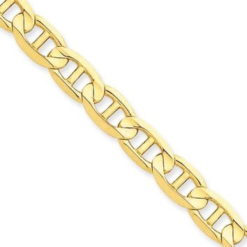 Men's 7mm, 14k Yellow Gold, Concave Anchor Chain Necklace, 20 Inch