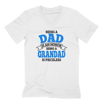Being a dad is an honor being a grandad is priceless grandpa grandfather  to be gifts for him pregnancy announcement Father's day  V Neck T Shirt