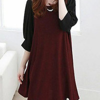 Scoop Neck Color Block 1/2 Sleeve Maternity Dress