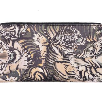 Roberto Cavalli Women Tiger Black Green Organizer Continental Wallet