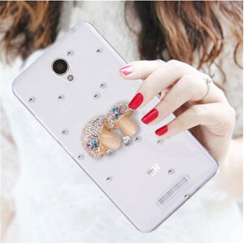 Luxury 3D angel umbrella flower bling Crystal diamond Mobile phone Shell Back Cover Skin Hard Case For Xiaomi Redmi Note 2