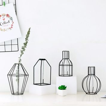 Nordic Home Decoration Vase, Abstract Black Lines, Minimalist Iron Vase, Dried Flower Water Planting Vase Ornament, Glass Tube