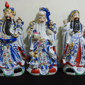 Vintage Chinese Lot 3 Wise Men Fu Lu Shou Porcelain Collection // Vintage // Chinese porcelain // Chinese // vintage Chinese porcelain //
