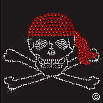2pc/lot Pirate Bandana Skull Rhinestone hot fix rhinestone transfer motifs iron on design rhinestone applique patch  for shirt
