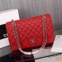HCXX 19Sep 105 Fashion Pop 1119 Maxi Classic Embossing Chain Flap Bag Casual Quilted Bag 33-22-10cm