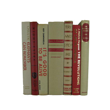 Neutral Taupe Red Decorative Books, Vintage Book Set