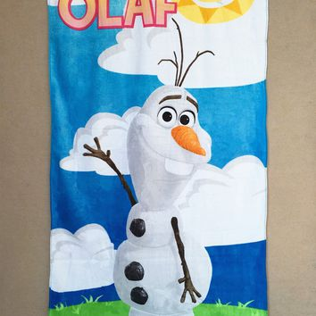 100% cotton Disney Olaf water absorbing bath towel beach towel cartoon cotton children baby cute thick blanket throw
