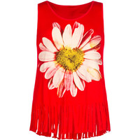 Full Tilt Daisy Girls Fringe Tank Red  In Sizes