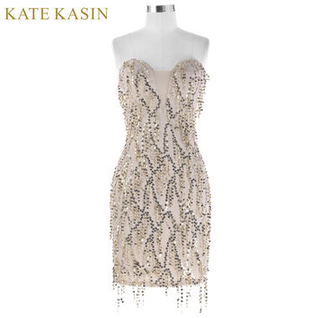 Kate Kasin Short Sequin Cocktail Dresses 2017 Knee Length Summer Party Gown Sexy Sleeveless Tassel Robe de Cocktail Dress 1041