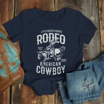 Women's Rodeo T Shirt American Cowboy Shirts Western Graphic Tee Southern Tradition Horse Tshirt