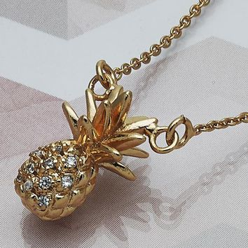 Gold Layered Women Pineapple Fancy Necklace, with White Crystal, by Folks Jewelry