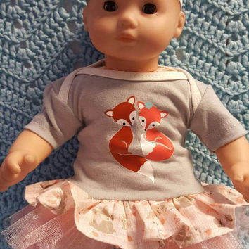 "Baby Doll Clothes ""Foxy Love"" 15 inch doll outfit Will fit Bitty Baby® Bitty Twins®  dress, Capri leggings, socks, headband foxes P4"