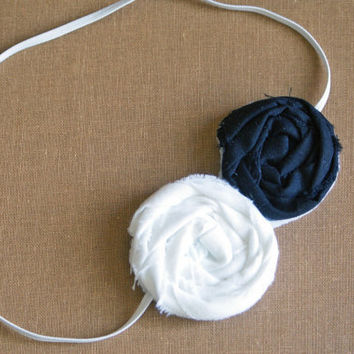 White and Black Fabric Rosette Headband/  3-12 month through adult