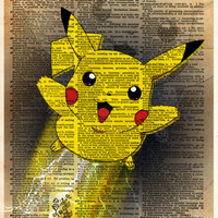 Pikachu pokemon art, Pikachu art, video game art, Pokemon poster, kids room art