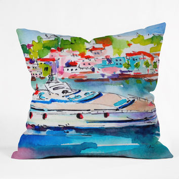 Ginette Fine Art Boating In Italy Throw Pillow