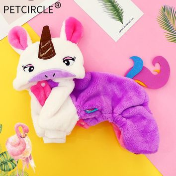 PETCIRCLE Dog Clothes Teddy French Bulldog Chihuahua Puppy  Autumn Winter Cat Clothes Pet Clothes Rainbow Unicorn Dress