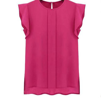 New Summer fashion women O Neck Solid Color chiffon short sleeve T-shirt -0628