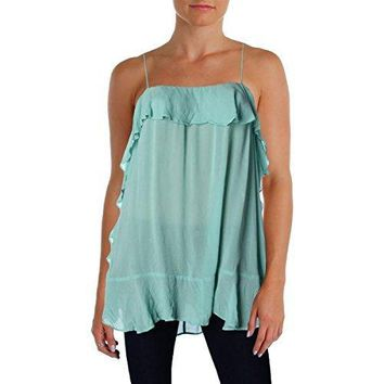 Intimately Free People Womens Solid Spaghetti Straps Blouse Blue M