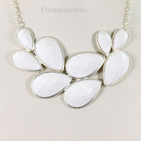 High Quality Silver Tone Statement Necklace,White Bib Bubble Necklace,Chunky Necklace,Cluster Necklace-BN280