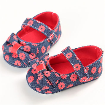 ROMIRUS Vintage Baby Girl Shoes Butterfly Canvas Newborn Bowknot Floral Soft Sole Crib Girl Shoes Sneaker Footwear for Newborns