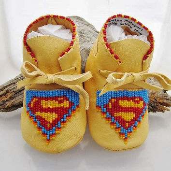 Superman Baby Boys Shoes Native American Baby Moccasins Unique Baby Moccs  Red Beaded Blue Beaded Baby Shower Gift Walker Leather Crib Shoes