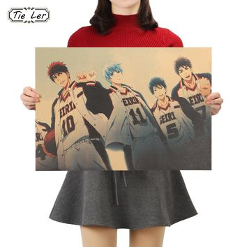 TIE LER Kuroko Basketball Classic Anime Decorative Painting Kraft Paper Bar Poster Decorative Painting Wall Stickers